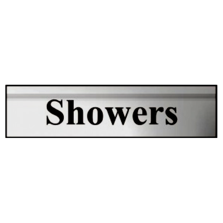 ASEC `Showers` 200mm X 50mm Silver Self Adhesive Sign 1 Locksmith in Stirling