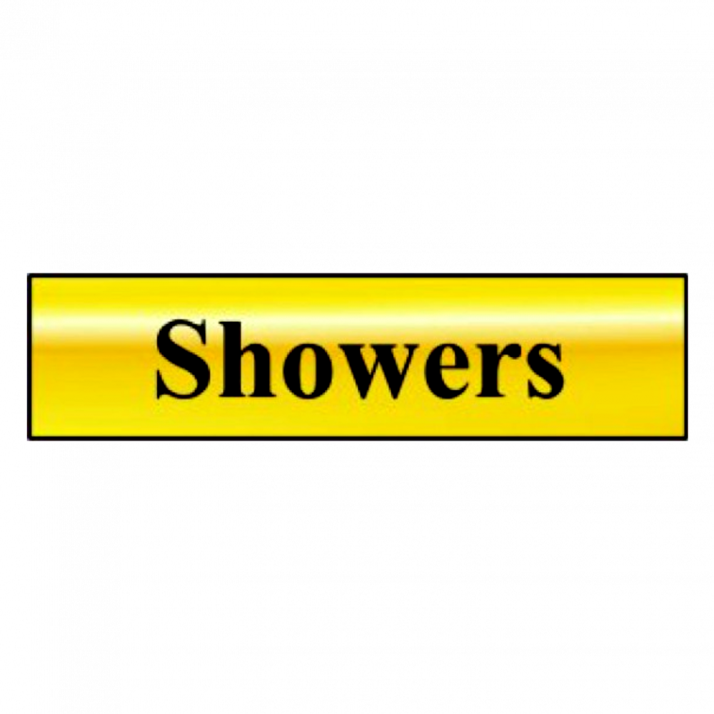 ASEC `Showers` 200mm X 50mm Gold Self Adhesive Sign 1 Locksmith in Stirling