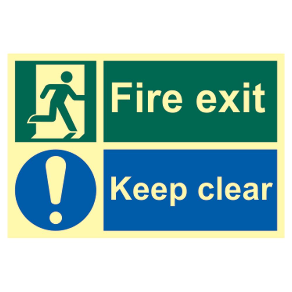 ASEC `Fire Escape Keep Clear` Sign Photoluminescent 300mm x 200mm 1 Locksmith in Stirling