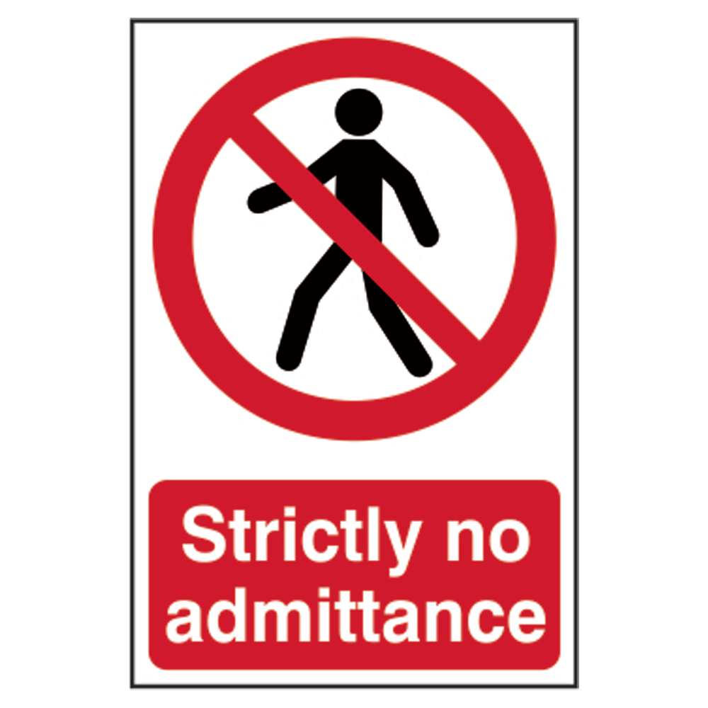 ASEC `Strictly No Admittance` Sign 200mm x 300mm 1 Locksmith in Stirling