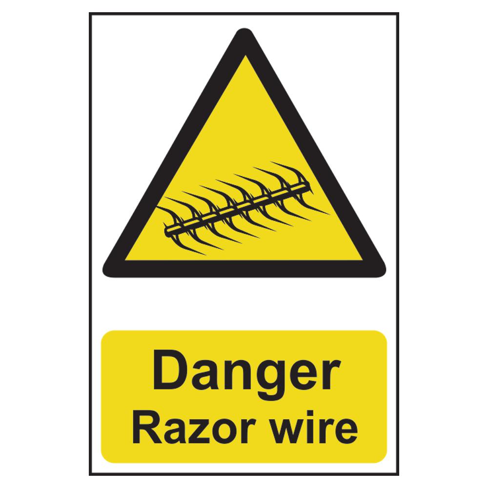 ASEC `Danger: Razor Wire` Sign 200mm x 300mm 1 Locksmith in Stirling