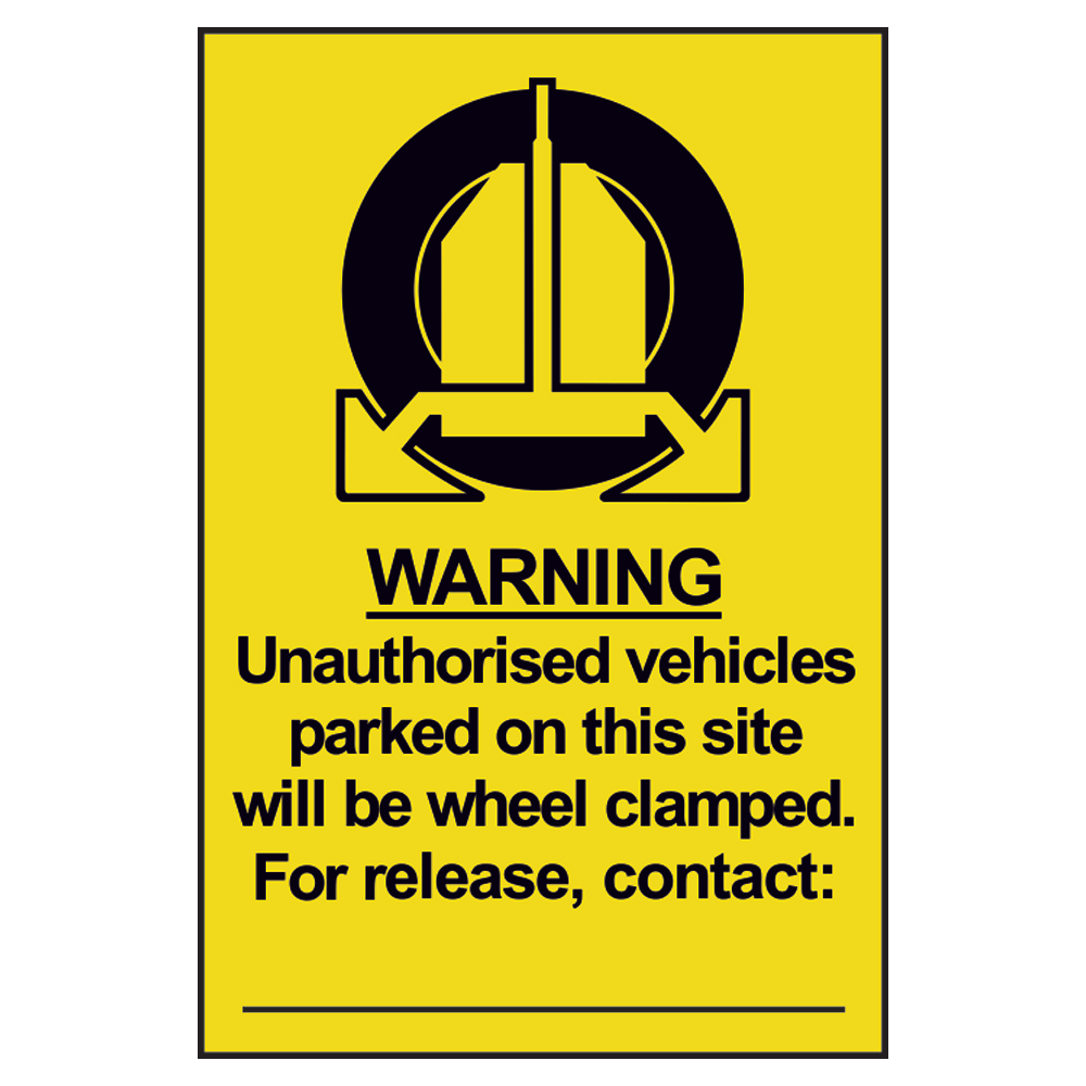 ASEC `Unauthorised Vehicles Will Be Clamped` Sign 200mm x 300mm 1 Locksmith in Stirling