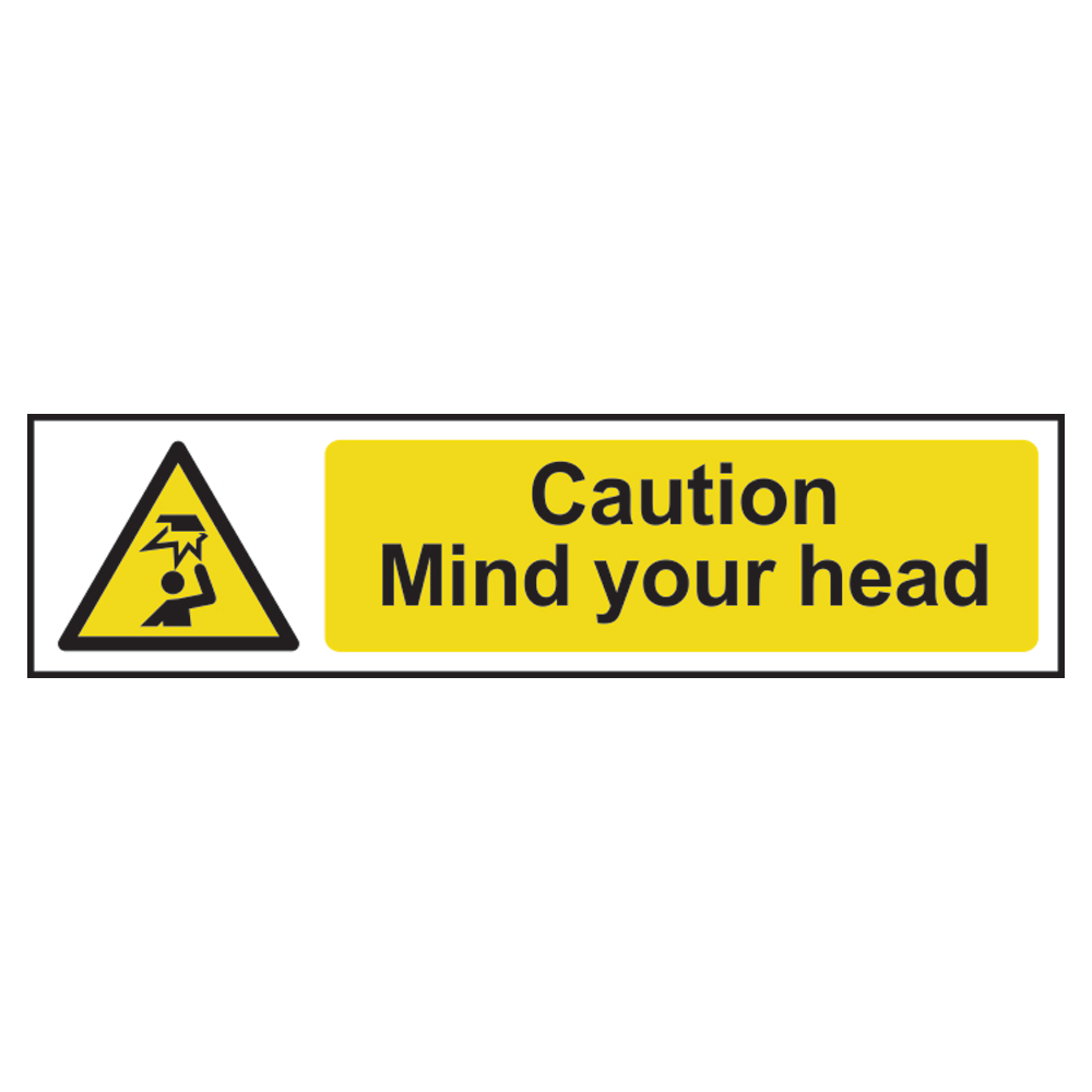 ASEC `Caution: Mind Your Head` Sign 200mm x 50mm 1 Locksmith in Stirling