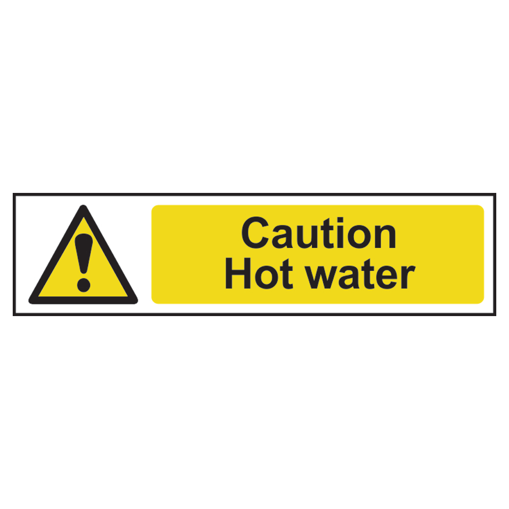 ASEC `Caution: Hot Water` Sign 200mm x 50mm 1 Locksmith in Stirling