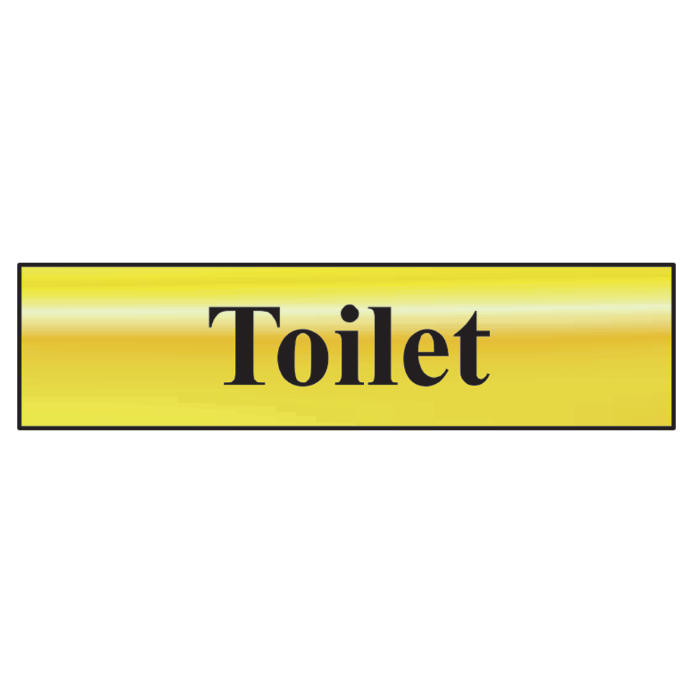 ASEC `Toilet` 200mm x 50mm Metal Strip Self Adhesive Sign Gold 1 Locksmith in Stirling