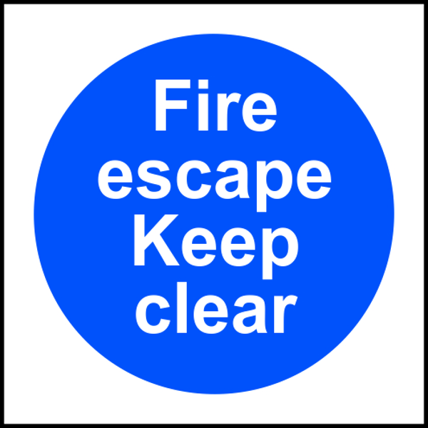 ASEC `Fire Escape Keep Clear` Sign 100mm x 100mm 1 Locksmith in Stirling