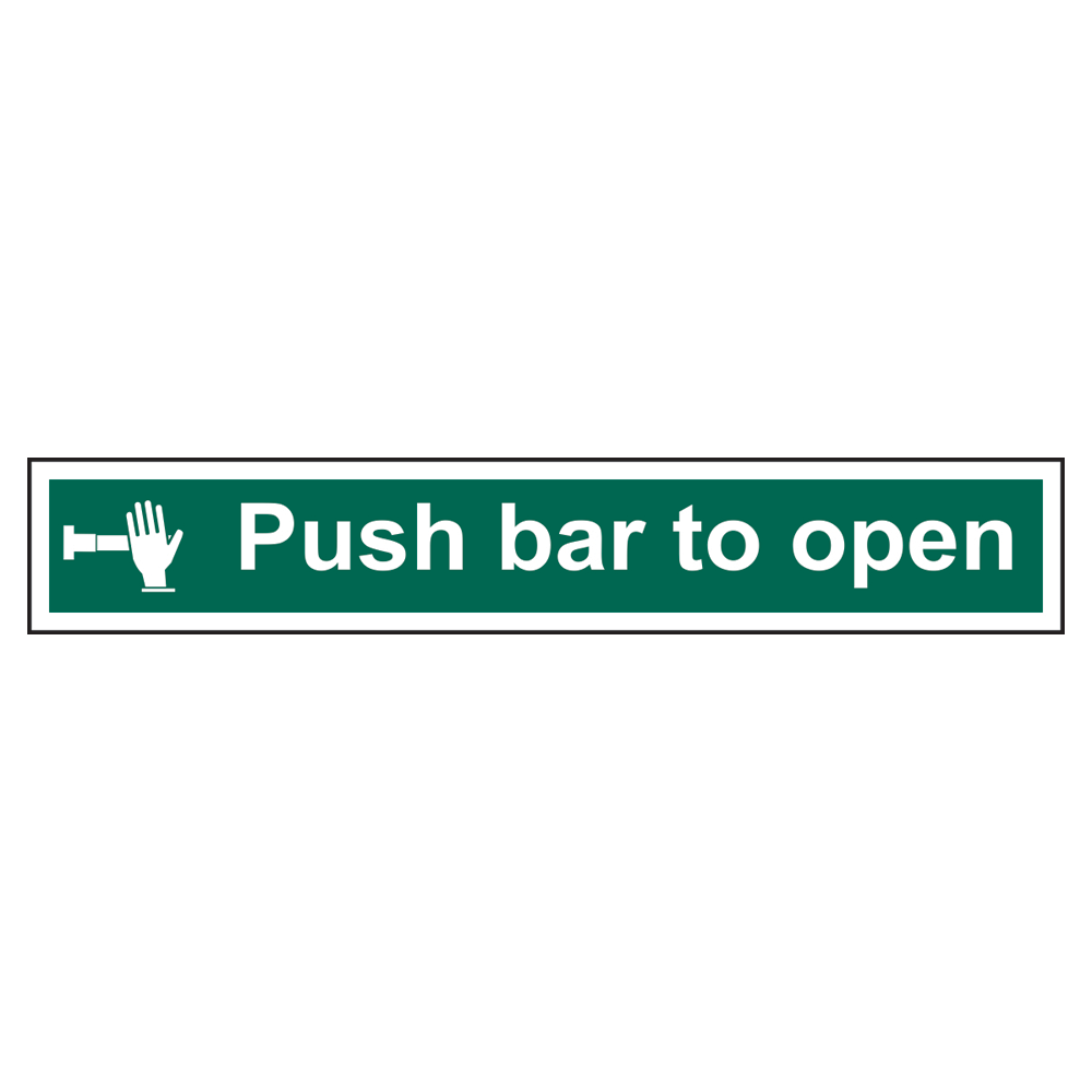 ASEC `Push Bar To Open` Sign 600mm x 100mm 1 Locksmith in Stirling