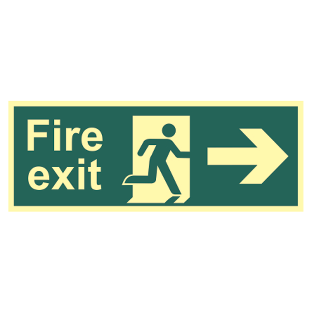 ASEC Photoluminescent Fire Exit Arrow Direction Sign 400mm x 150mm 1 Locksmith in Stirling