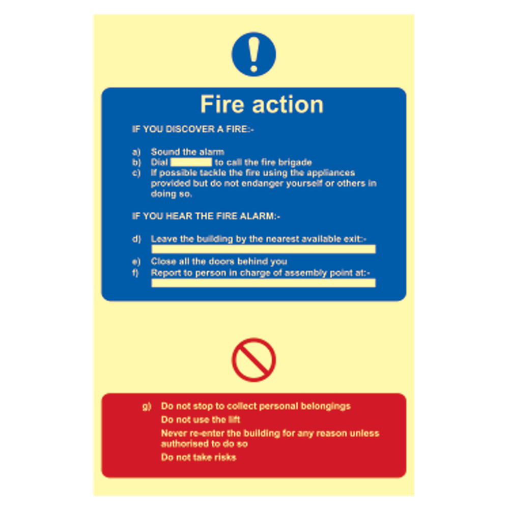 ASEC Photoluminescent Fire Action Procedure Sign 200mm x 300mm 1 Locksmith in Stirling