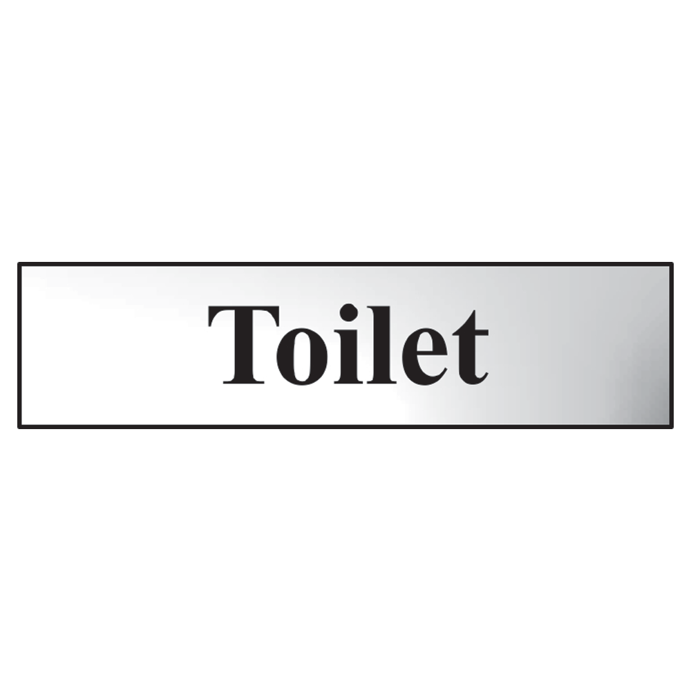 ASEC `Toilet` 200mm x 50mm Metal Strip Self Adhesive Sign Chrome 1 Locksmith in Stirling