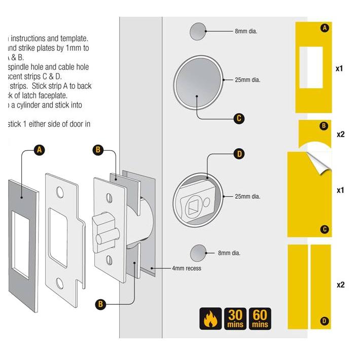 CODELOCKS Fire Kit Intumescent Pack To Suit All Codelocks Tubular Latch Digital Locks 1 Locksmith in Stirling