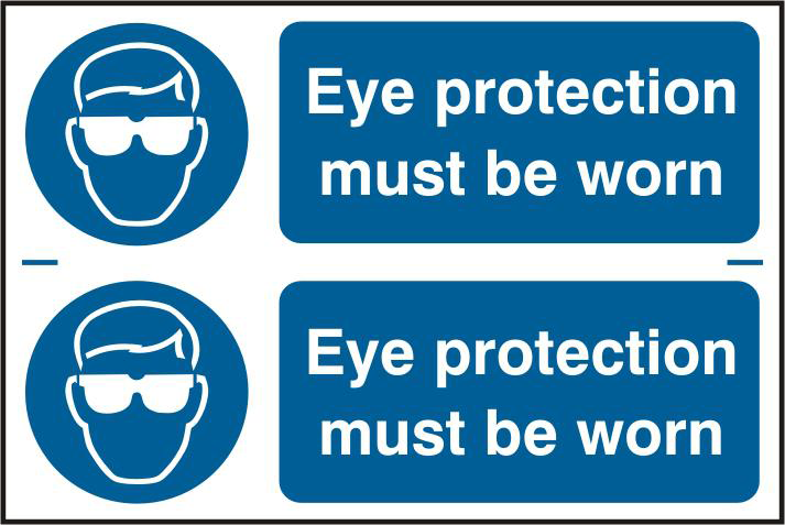 ASEC `Eye Protection Must Be Worn` 300mm x 100mm PVC Self Adhesive Sign 1 Locksmith in Stirling