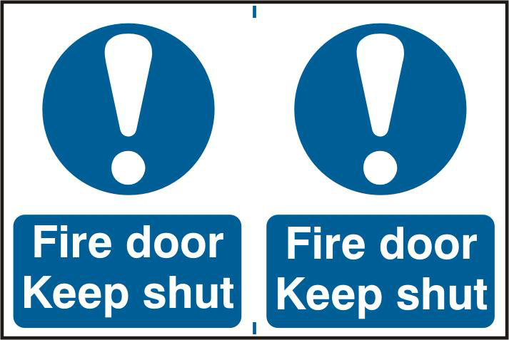ASEC `Fire Door Keep Shut` 200mm x 300mm PVC Self Adhesive Sign 1 Locksmith in Stirling