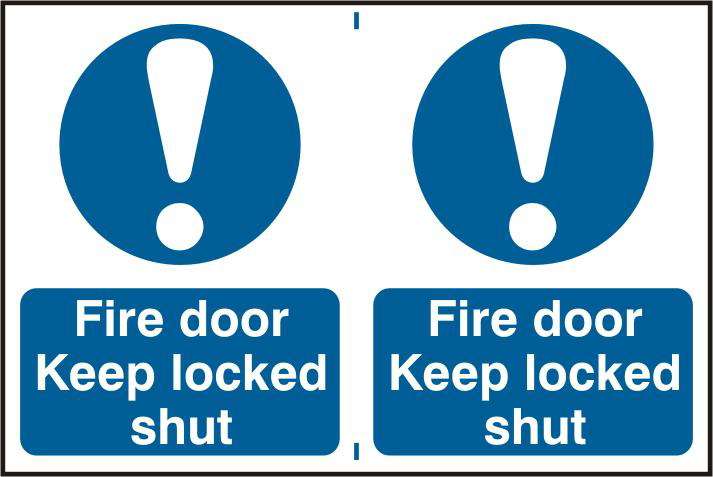 ASEC `Fire Door Keep Locked Shut` 200mm x 300mm PVC Self Adhesive Sign 1 Locksmith in Stirling
