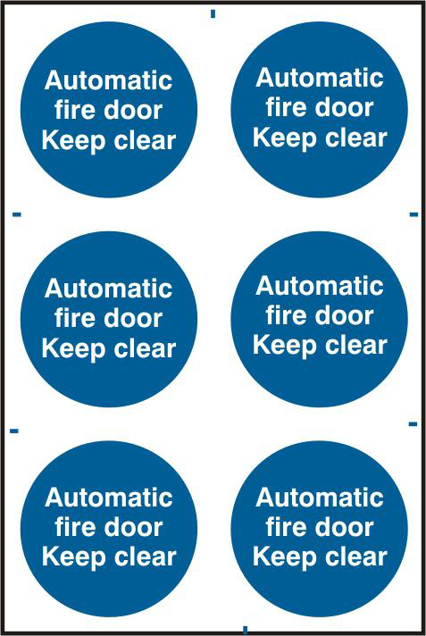 ASEC `Automatic Fire Door Keep Clear` 200mm x 300mm PVC Self Adhesive Sign 1 Locksmith in Stirling