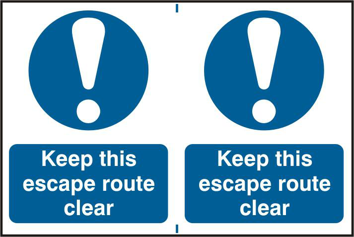 ASEC `Keep This Escape Route Clear` 200mm x 150mm PVC Self Adhesive Sign 1 Locksmith in Stirling