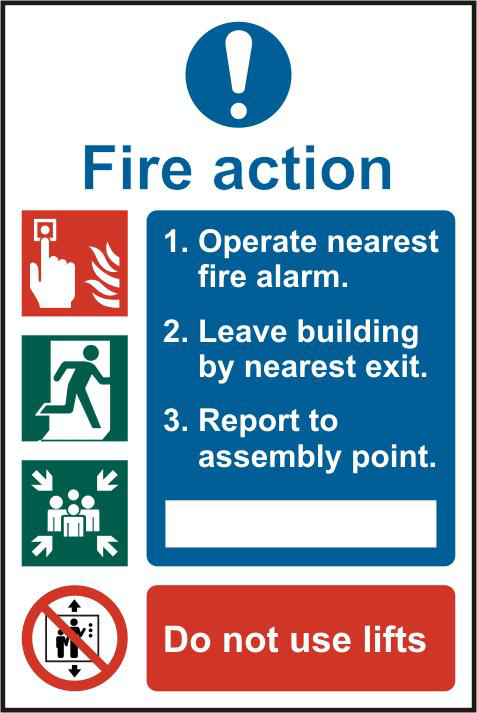 ASEC Fire Action Procedure 200mm x 300mm PVC Self Adhesive Sign 1 Locksmith in Stirling