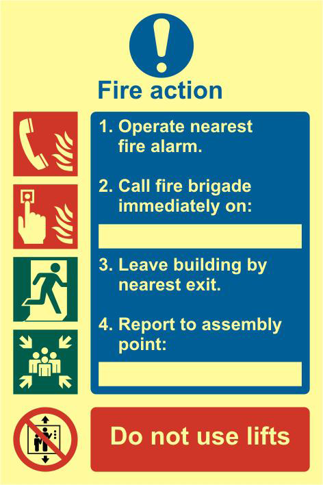 ASEC Fire Action Procedure 200mm x 300mm PVC Self Adhesive Photo luminescent Sign 1 Locksmith in Stirling