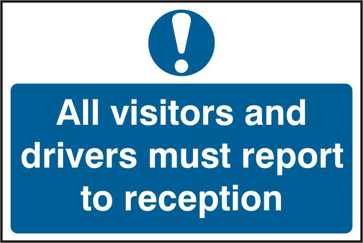 ASEC `All Visitors and Drivers Must Report To Reception` 200mm x 300mm PVC Self Adhesive Sign 1 Locksmith in Stirling