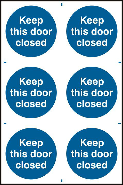ASEC `Keep This Door Closed` 200mm x 300mm PVC Self Adhesive Sign 1 Locksmith in Stirling