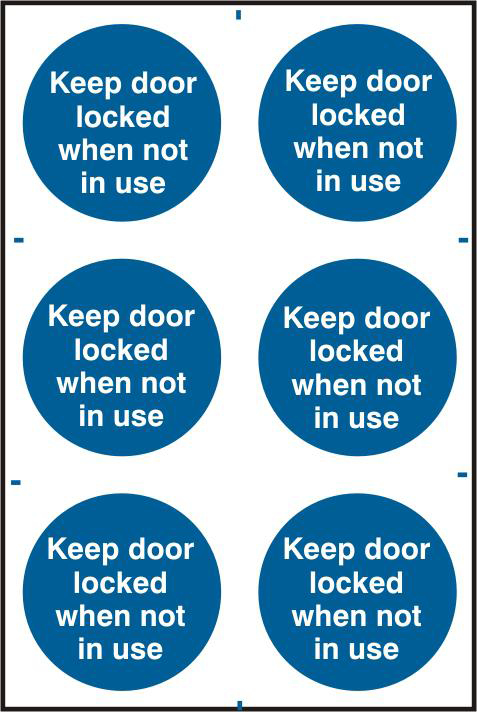 ASEC `Keep Door Locked When Not In Use` 200mm x 300mm PVC Self Adhesive Sign 1 Locksmith in Stirling