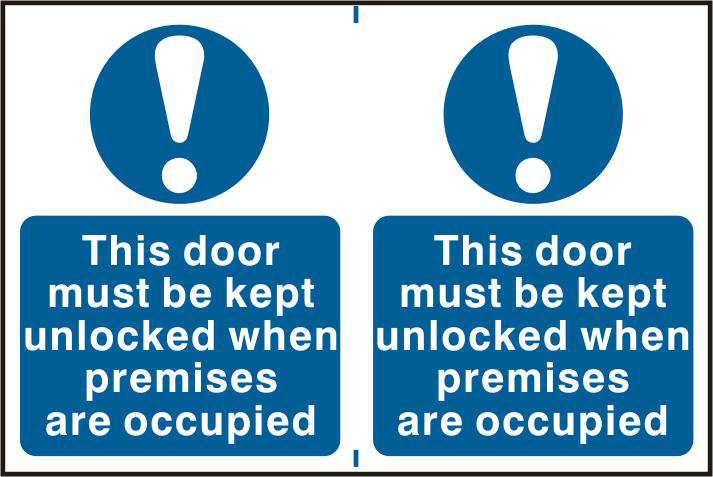 ASEC `This Door Must Be Kept Unlocked When Premises Are Occupied` 200mm x 300mm PVC Self Adhesive Sign 1 Locksmith in Stirling