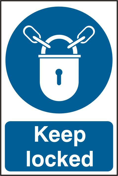 ASEC `Keep Locked` 200mm x 300mm PVC Self Adhesive Sign 1 Locksmith in Stirling