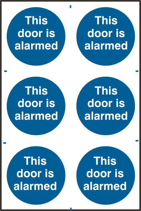 ASEC `This Door Is Alarmed` 200mm x 300mm PVC Self Adhesive Sign 1 Locksmith in Stirling