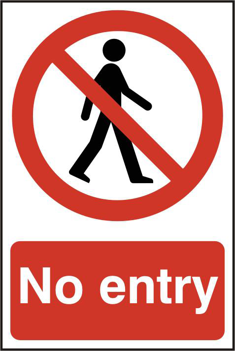 ASEC `No Entry` 200mm x 300mm PVC Self Adhesive Sign 1 Locksmith in Stirling