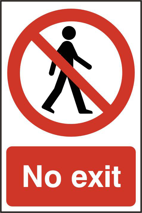 ASEC `No Exit` 200mm x 300mm PVC Self Adhesive Sign 1 Locksmith in Stirling