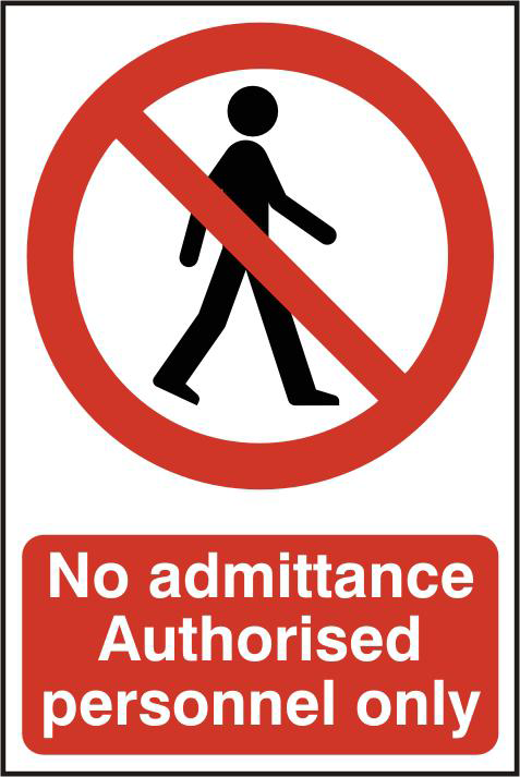 ASEC `No Admittance Authorised Personnel Only` 200mm x 300mm PVC Self Adhesive Sign 1 Locksmith in Stirling