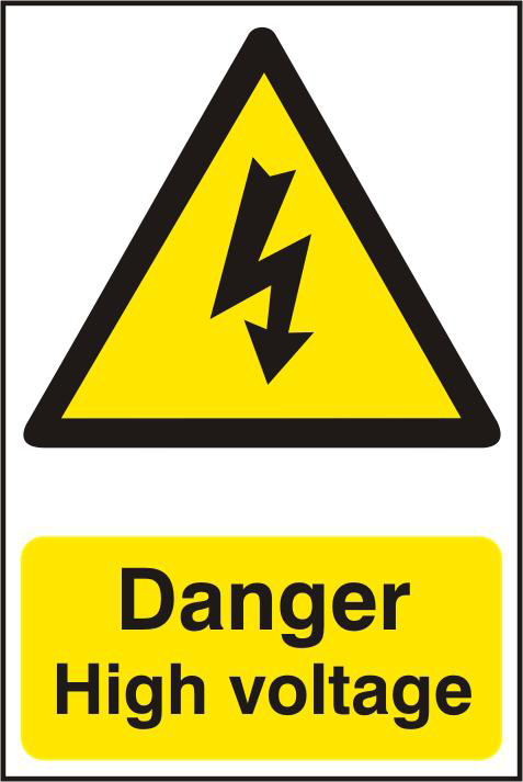ASEC `Danger High Voltage` 200mm x 300mm PVC Self Adhesive Sign 1 Locksmith in Stirling