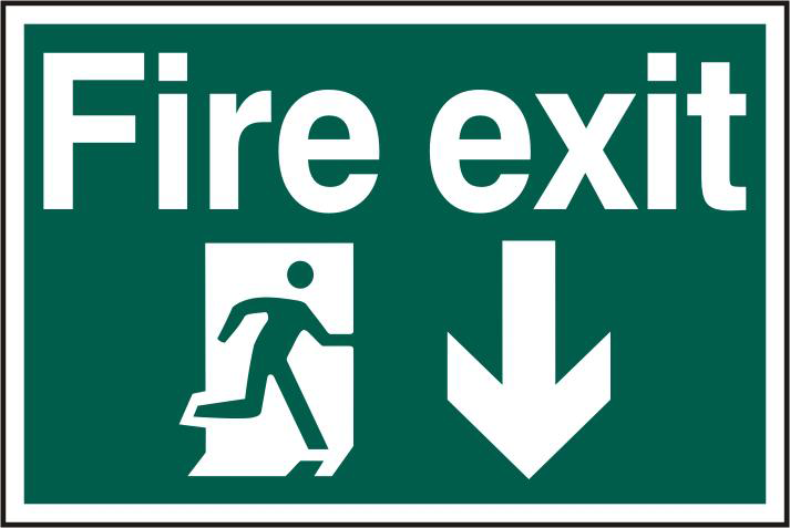 ASEC `Fire Exit` 200mm x 300mm PVC Self Adhesive Sign 1 Locksmith in Stirling