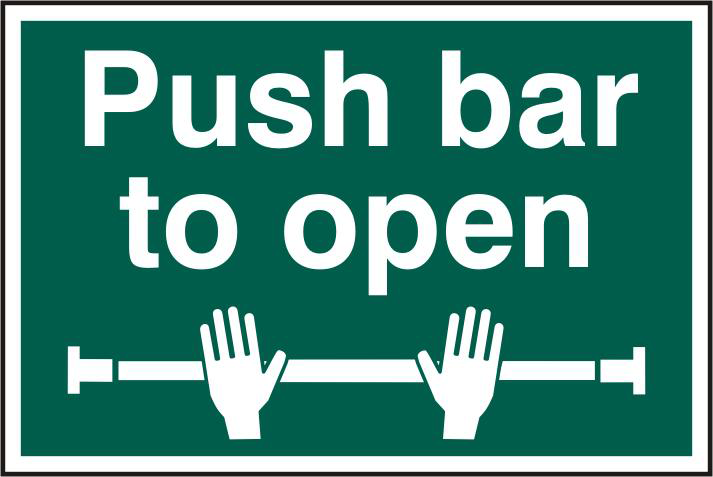 ASEC `Push Bar To Open` 200mm x 300mm PVC Self Adhesive Sign 1 Locksmith in Stirling