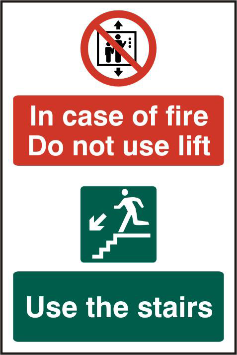 ASEC `In Case Of Fire Do Not Use Lift` 200mm x 300mm PVC Self Adhesive Sign 1 Locksmith in Stirling