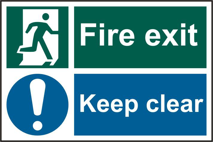 ASEC `Fire Exit Keep Clear` 200mm x 300mm PVC Self Adhesive Sign 1 Locksmith in Stirling