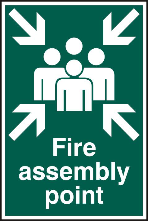 ASEC `Fire Assembly Point 200mm x 300mm PVC Self Adhesive Sign 1 Locksmith in Stirling