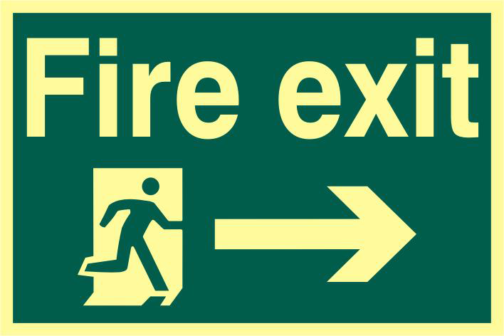 ASEC `Fire Exit` 200mm x 300mm PVC Self Adhesive Photo luminescent Sign 1 Locksmith in Stirling
