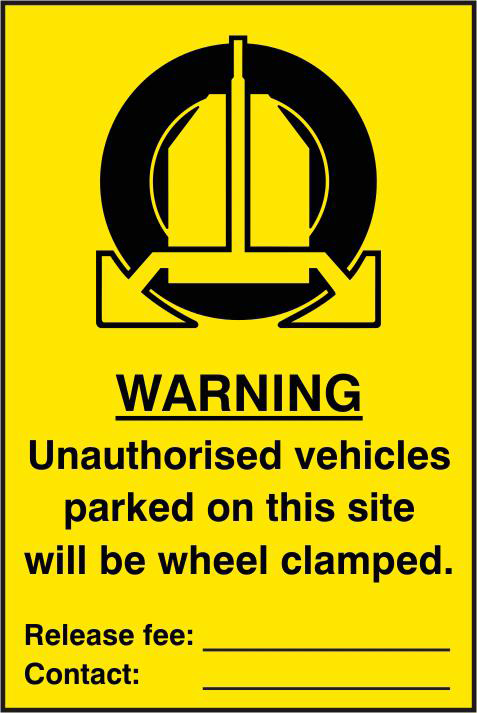 ASEC `Unauthorised Vehicles Parked On This Site Will Be Wheel Clamped` 200mm x 300mm PVC Self Adhesive Sign 1 Locksmith in Stirling