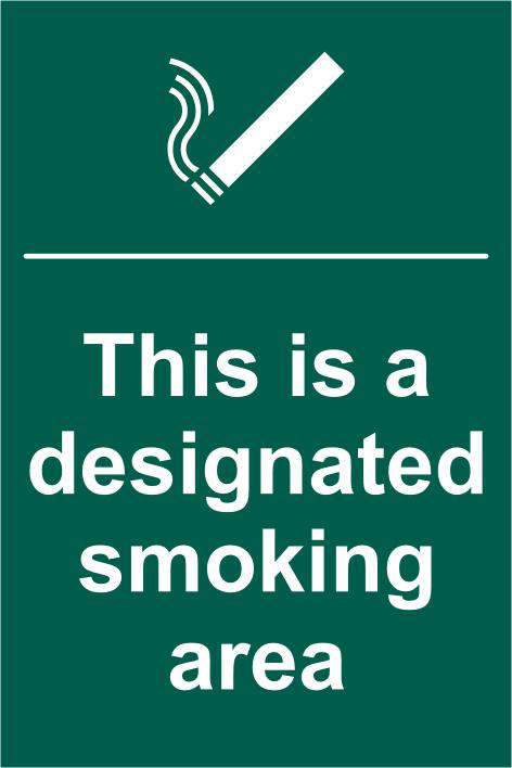 ASEC `This Is A Designated Smoking Area` 200mm x 300mm PVC Self Adhesive Sign 1 Locksmith in Stirling