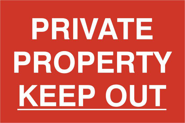 ASEC `Private Property Keep Out` 200mm x 300mm PVC Self Adhesive Sign 1 Locksmith in Stirling