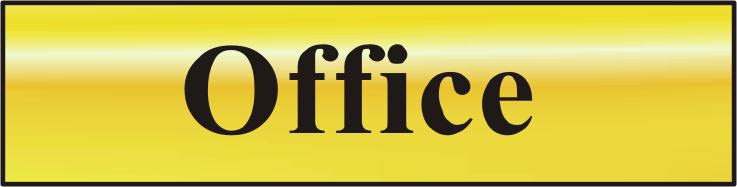 ASEC `Office` 200mm x 50mm Gold Self Adhesive Sign 1 Locksmith in Stirling