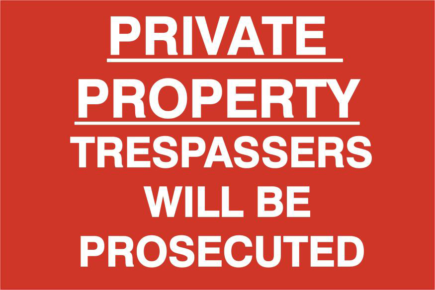 ASEC `Private Property Trespassers Will Be Prosecuted` 400mm x 600mm PVC Self Adhesive Sign 1 Locksmith in Stirling