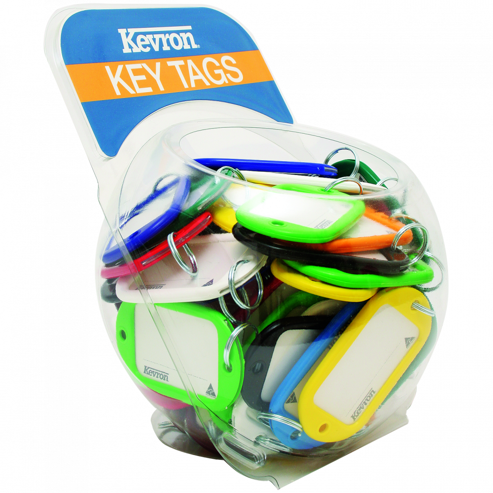 KEVRON ID10 Jumbo Key Tags Counter Tub 60pcs Assorted Colours 1 Locksmith in Stirling