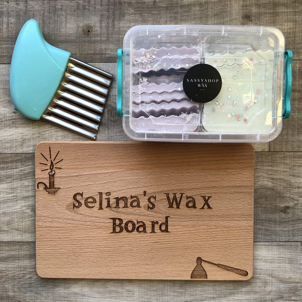 Personalised Wax Melt Chopping Board, Wax & Cutter