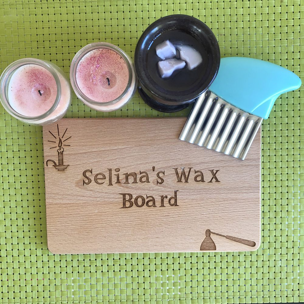 Personalised Wax Melt Chopping Board with candles