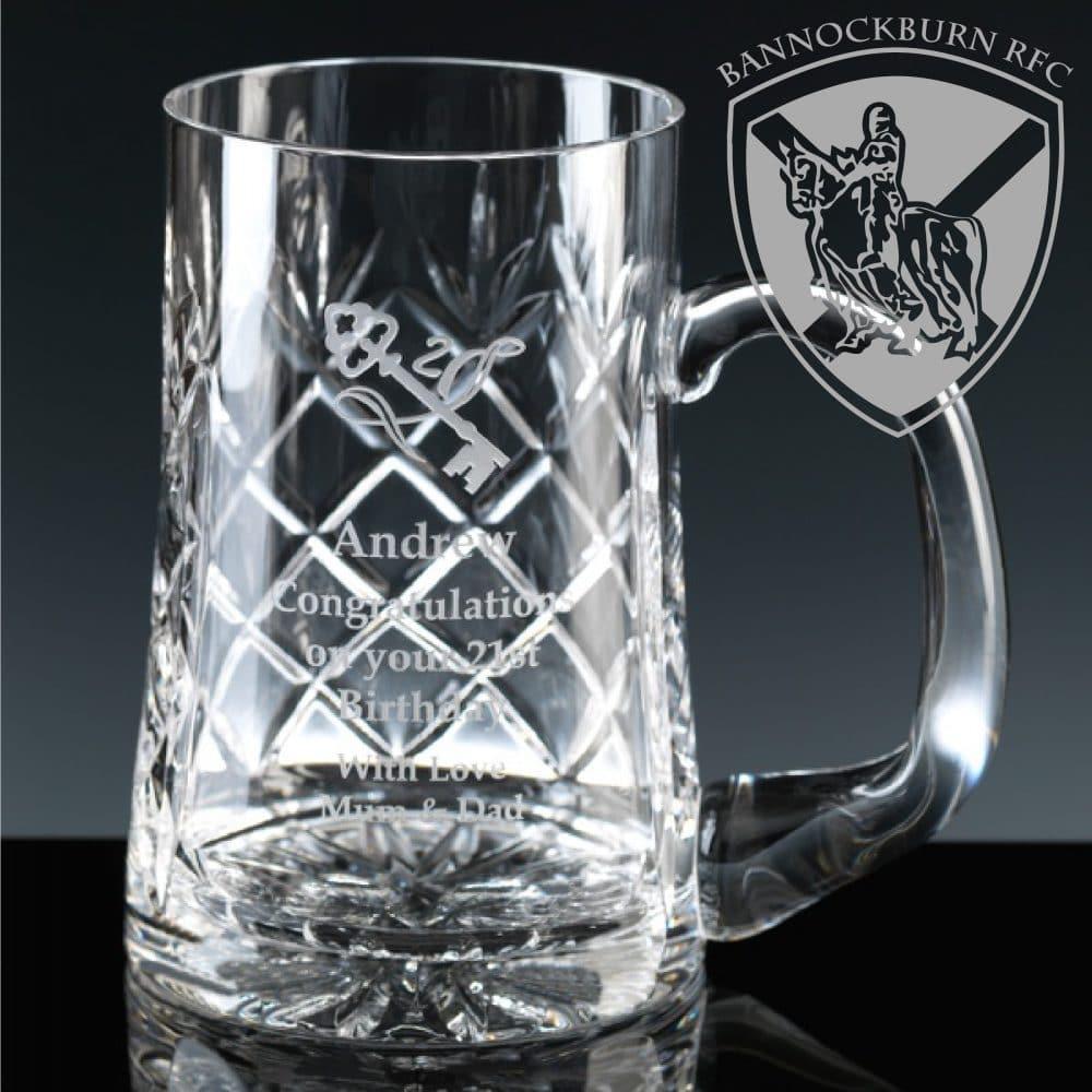 Club & Societies - 1 Pint Crystal Engraved Glass Tankard 1 Locksmith in Stirling
