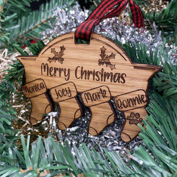 Image of Personalised Family Christmas Bauble Stocking Decoration